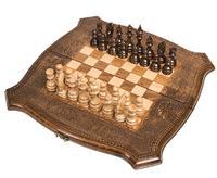 Шахматы + Нарды резные ручной работы 40 см, Грачия Оганян