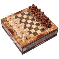 """Шахматы резные ручной работы """"В ларце"""" средние 26 см, Мордовия"""