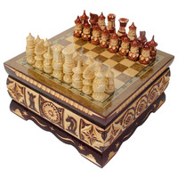 """Шахматы резные ручной работы """"В ларце"""" малые 20 см, Мордовия"""