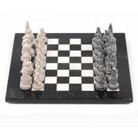 "Шахматы ""Северные народы"" змеевик, мрамор"